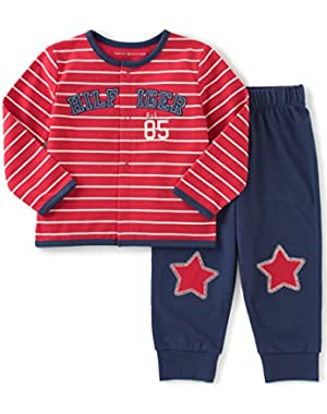 Tommy Hilfiger Baby Boys' 2 Piece Cardigan and Pant Set