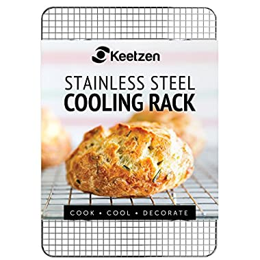 Cooling Rack by Keetzen 100% Real Stainless Steel 12 Inch x 17 Inch for Baking, Roasting & Decorating with Cross Wire Grid Pattern to Cool Cookies and Baked Goods