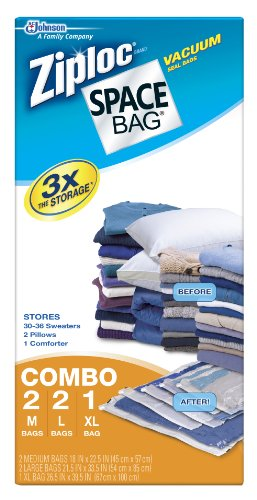 5 Pack of Space Bags - 2 Med, 2 Large, 1 XLarge