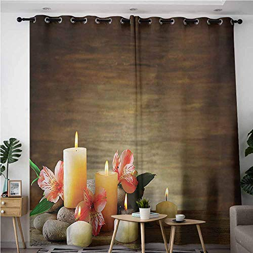 Double Ring Unity Candle Holder - Thermal Insulating Blackout Curtains,Spa Spa Composition with Many Candles Wellbeing Unity Neutrality Icons Calm Happiness Theme,Darkening Thermal Insulated Blackout,W84x108L,Multicolor