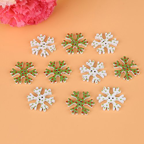 Christmas Ornament Mini Button - 100 Pcs/Set Christmas Snowflake Button Wooden Decorative Buttons Apparel Sewing Accessories (Green White)
