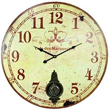 """Large 23"""" Wall Clock with Pendulum ~ Antique French Provincial Style"""