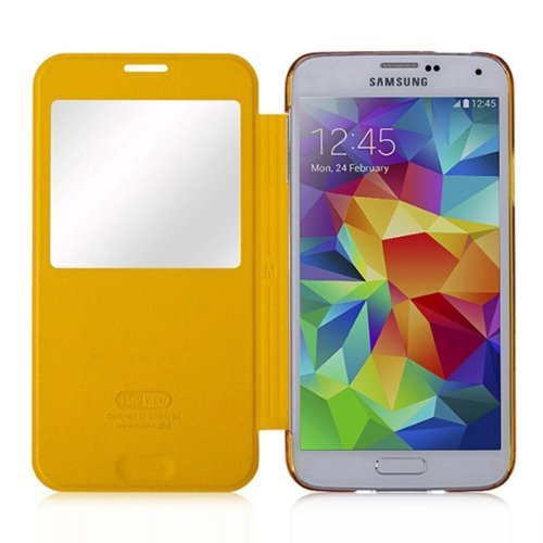 Moon Monkey Lightweight Ultra-thin Slim Protective Case with Intelligent Window for Samsung Galaxy S5 (Yellow)