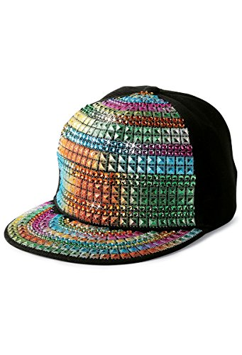 Balera Baseball Cap Flat Bill Rainbow Pyramid Studs Dance Costume Accessory (Stud Pyramid Rainbow)