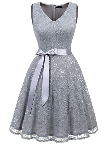 Vintage Beautiful Lace (IVNIS RS90025 Women's Short Bridesmaid Dress V Neck Vintage Floral Lace Swing Cocktail Dress Grey2 L)