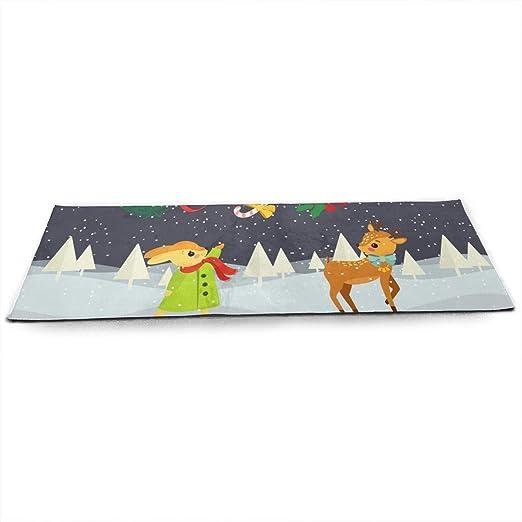 LinJxLee Merry Christmas Reindeer Yoga Mat Eco Friendly Non ...