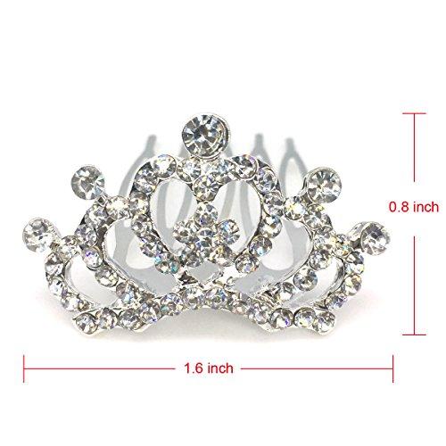 Elesa Miracle 12pc Girl Hair Accessories Rhinestone Tiara Crown Hair Comb Value Set Princess Flower Girl Wedding Party Favor Hair Jewelry