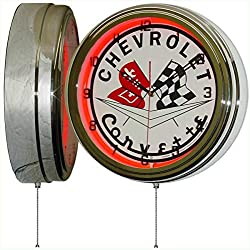 Chevy Corvette Flags 15 Neon Light Clock Sign Red