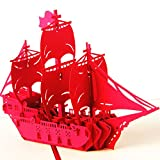 Carood 3D Pop-Up Ship Card Wedding Mother Lover Birthday Graduation Anniversary Greeting Card