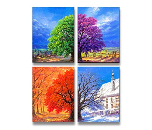 nel Wall Art Boat Spring, Summer, Autumn,winter,oil Paintings Printed Pictures Stretched for Home Decoration (Wall Decoration Spring)