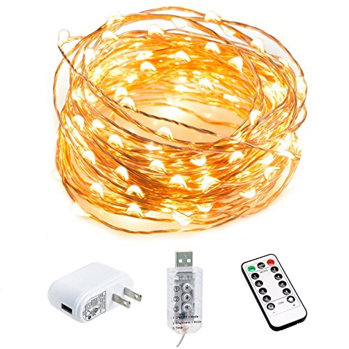 HSicily Fairy Lights Plug in, 8 Modes 33ft 100 LED Decorative Lights with Remote Control Timer USB String Lights for Bedroom Indoor Outdoor Wedding Party Dorm Decor