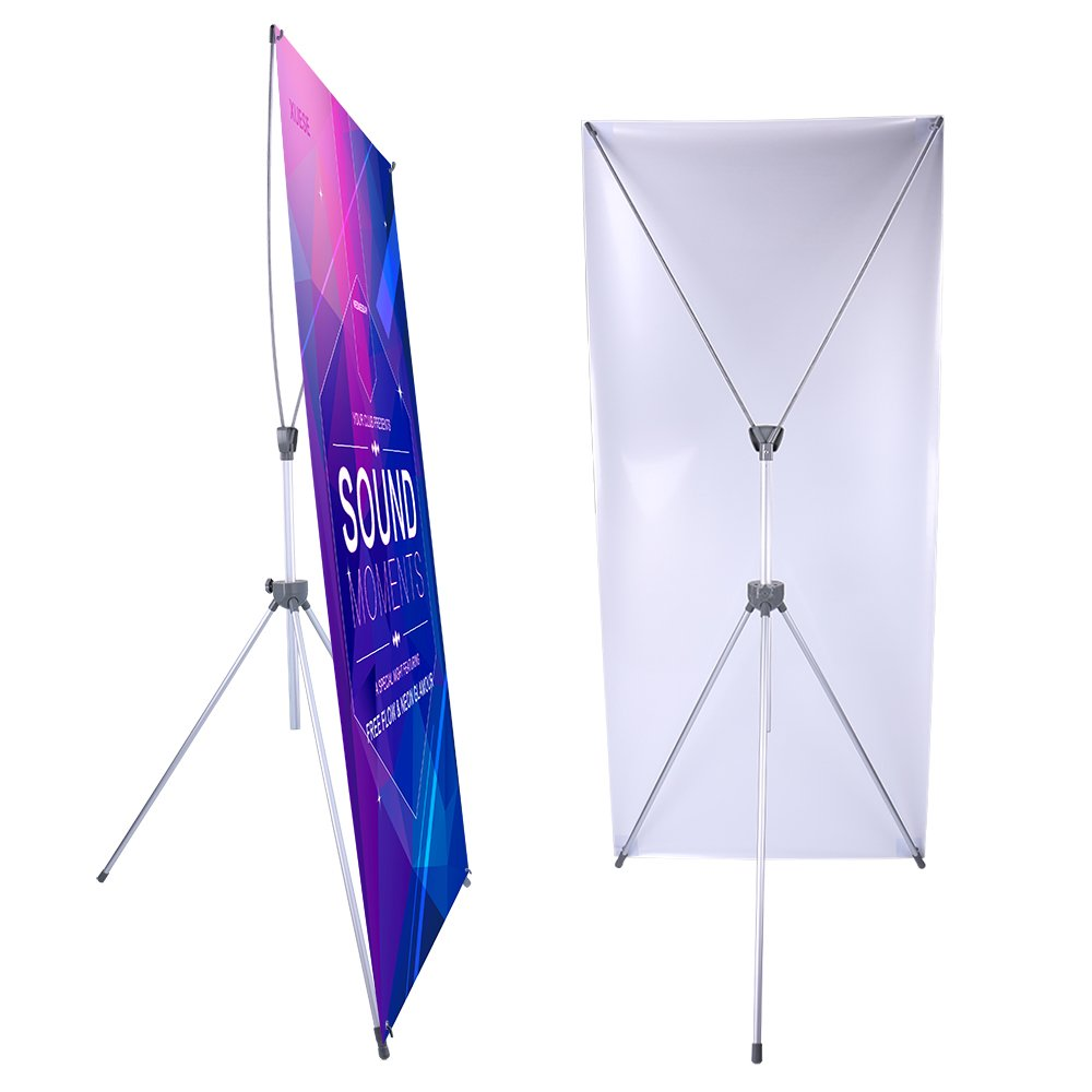 Adjustable X Banner Stand Fits Any Banner Size Width 23'' to 32'' and Height 63'' to 78''.