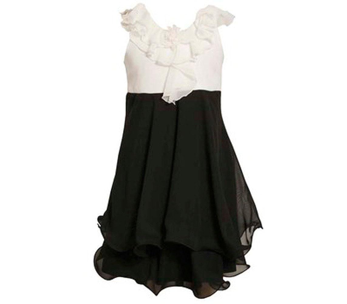 Bonnie Jean Black White Chiffon Dress With Ruffled Collar