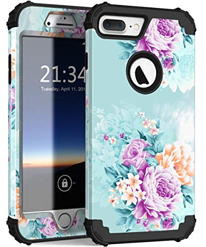 Orange Butterflies Design Snap - iPhone 8 Plus Case, iPhone 7 Plus case PIXIU Three Layer Heavy Duty Hybrid Sturdy Armor Shockproof Protective Phone Cover Cases for Apple iPhone 8 Plus/7 Plus(Peonies)