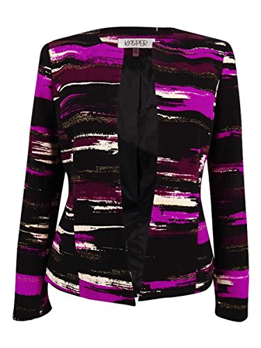 Kasper Women's Printed Liverpool Collarless Flyaway Jacket, Rasin Multi, 4
