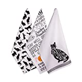 """DII Cotton Decorative Pet Lover Dish Towel 18 x 28"""" Set of 2, Oversized Kitchen Dish Towels, Perfect Mother's day, Hostee, Housewarming Gift-Cat's Meow"""