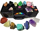 Chakra Therapy Collection(Small) 17 pcs Healing Crystal kit, 7 Raw Chakra Stones,7 Colorful Gemstones,Rose Quartz Pendulum, Chakra Lava Bracelet, Roes, Guide, COA, Best Value, Gift Ready