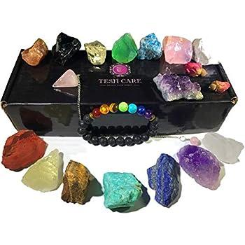 Chakra Therapy Collection(Small) 17 pcs healing crystal kit, 7 Raw Chakra stones,7 Colorful Gemstones,Amethyst,Rose quartz Pendulum, Chakra lava bracelet, Dry Roses, Guide, COA, Best value, Gift ready
