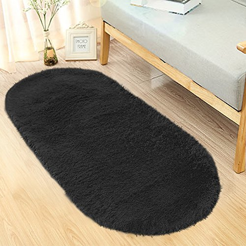 Noahas Ultra Soft 4.5cm Velvet Bedroom Rugs Kids Room Carpet Modern Shaggy Area Rugs Home Decor 2.6' X 5.3' (Black Oval Rug)