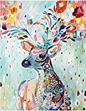 Cleana Arts Diamond Painting Kit, Colorful Deer Full Round Diamond Needlework Home Room Decoration 50cm×63cm