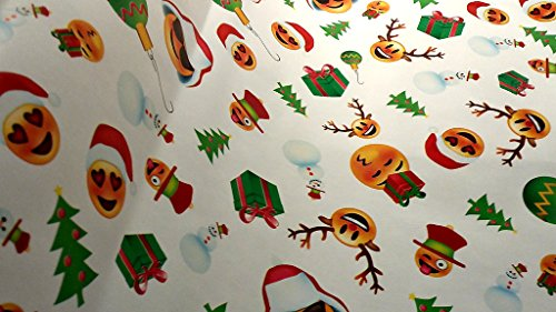 Christmas Wrapping Emoji Emojies Laugher Wink Hearts Holiday Paper Gift Greetings 1 Roll Design 40 Feet Festive Wrap Max Red Santa (Max The Grinch Costume)