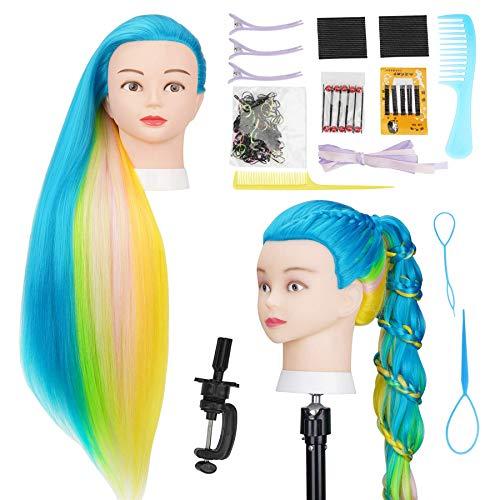 Cabeza  practica de peluqueria 75cm (azul- multicolor)+acc