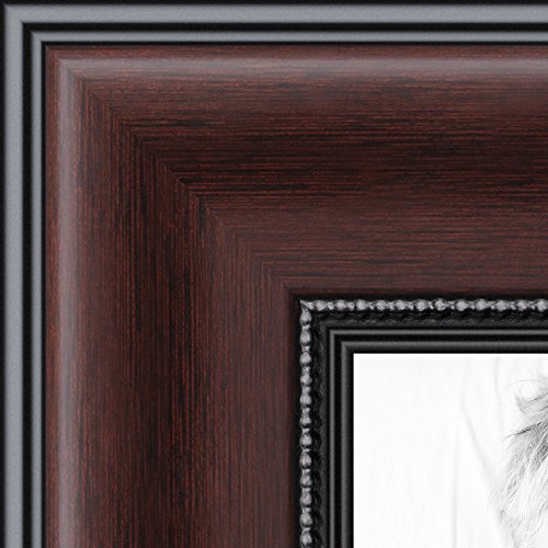- ArtToFrames 11x14 inch Mahogany and Burgundy with Beaded Lip Picture Frame, WOMN9590-11x14