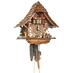 1-Day Black Forest House Cuckoo Clock w Hand Laid Shingles