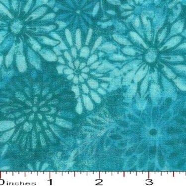 108' Rich Light Aqua Flower Batik Tonal Quilt Backing/By the yard Santee