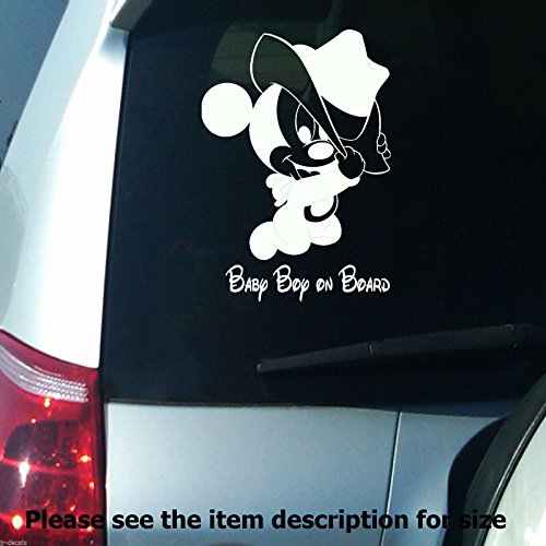 Baby Boy on Board Disney Mickey Mouse Car Bumper Sign Removable Vinyl Wall Stickers Decal D04
