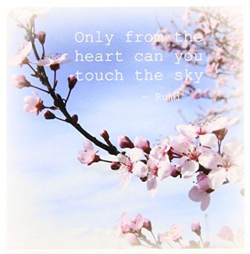 Cherry Blossom Floral Porcelain - 3dRose ct_30863_1 Inspirational Zen Cherry Blossom Rumi Floral Wisdom Quotes-Ceramic Tile, 4-Inch