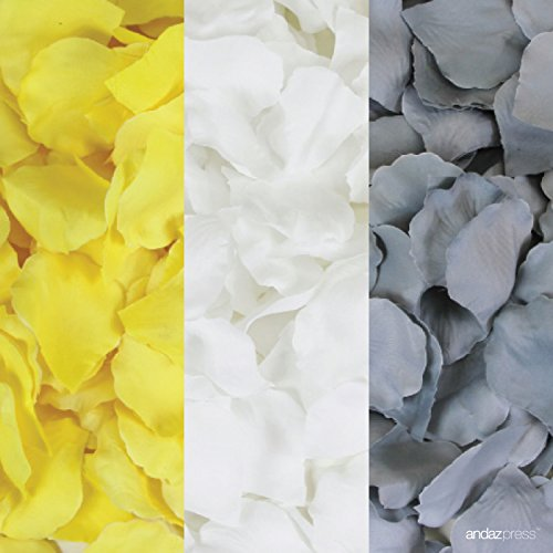 Andaz Press Silk Fabric Rose Petals Table Decorations, Yellow, White, Gray, 600-Pack, Colored Wedding Baby Bridal Shower Party -