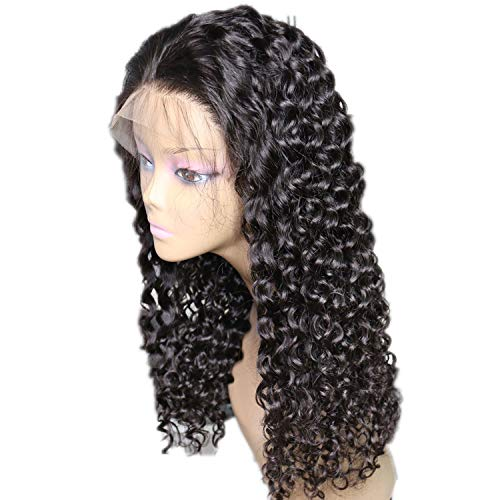 Lace Front Human Hair Wigs Deep Curly Remy Hair Plucked Lace Wigs Baby Hair Bleached,Natural -