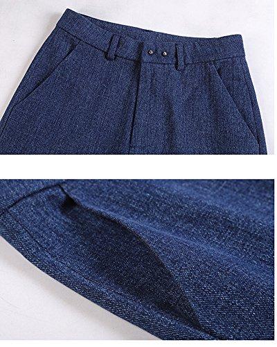 Donna Larghi Straight Comodo Boyfriend Alta Pantaloni Vita Blu Elasticizzati Jeans Casuale Baggy A Denim azawrq1