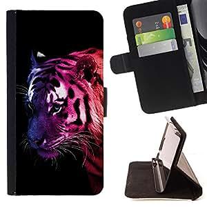 - Cool Awesome Neon Tiger/ Personalizada del estilo del dise???¡¯???¡Ào de la PU Caso de encargo del cuero del tir???¡¯????n del s - Cao - For Samsung Gal