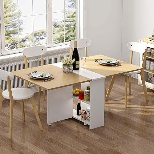 Tribesigns Folding Dining Table 6 Wheels Movable Dinner Table Extendable Table With Cabinets Home Kitchen Furniture Decor Lunch Computer Desk Storage Rack Chairs Not Include Light Walnut Buy Online In Cayman Islands At
