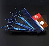 Purple Dragon 7.0 inch Rhinestone Decoration 3PCS Pet Grooming Scissors Dog Hair Cutting & Thinning Shears Set (Blue)