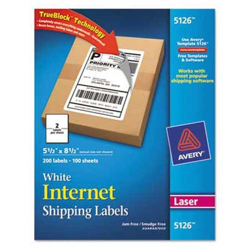 Avery Shipping Labels w/Ultrahold Ad & TrueBlock, Laser, 5 1/2 x 8 1/2, White, - Laser Block