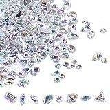 big clear gems - 400 PCS Sew On Rhinestones Flatback AB Clear Gems Sew On Crystal Gems AB Acrylic for DIY Project Clothing Dress Decorations by Lanpu