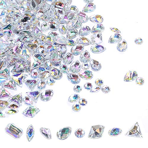 400 PCS Sew On Rhinestones Flatback AB Clear Gems Sew On Crystal Gems AB Acrylic for DIY Project Clothing Dress Decorations