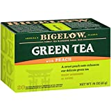 Bigelow Green Tea with Peach Caffeinated Individual Green Tea Bags, for Hot Tea or Iced Tea, 20 Count (Pack of 6), 120 Tea Bags Total.