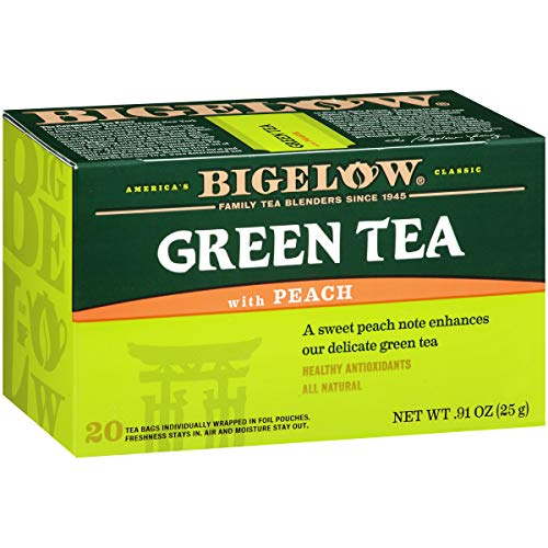 (Bigelow Green Tea with Peach Caffeinated Individual Green Tea Bags, for Hot Tea or Iced Tea, 20 Count (Pack of 6), 120 Tea Bags Total.)