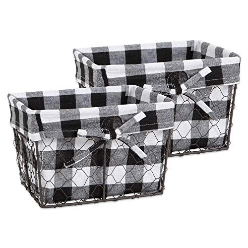 (DII Z02320 Vintage Food Safe Metal Chicken Wire Storage Baskets with Removable Fabric Liner for Home Décor or Kitchen Use, Set of 2, Black & White Check)