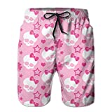 Men Swim Trunks Beach Board Shortsskulls With Bow Quick Dry XXL
