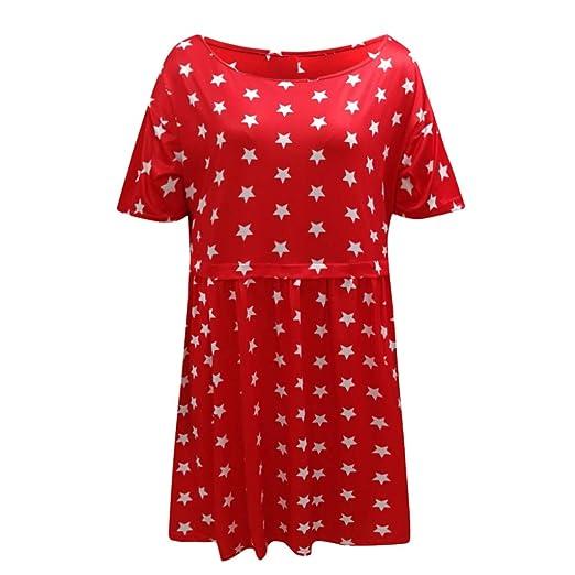 Wave166 Vestido Suelto de Bolsillo para Mujer de Cuello Redondo ...