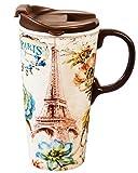 Cypress Home Paris Forever Ceramic Travel Coffee Mug, 17 ounces