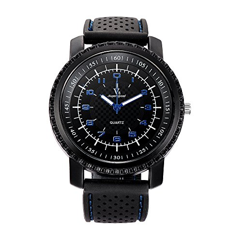 Super Speed V8 Men's Strap Cool Silicon Big Dial Blue Silica Gel Band Sports Quartz Tyre Wrist Watch