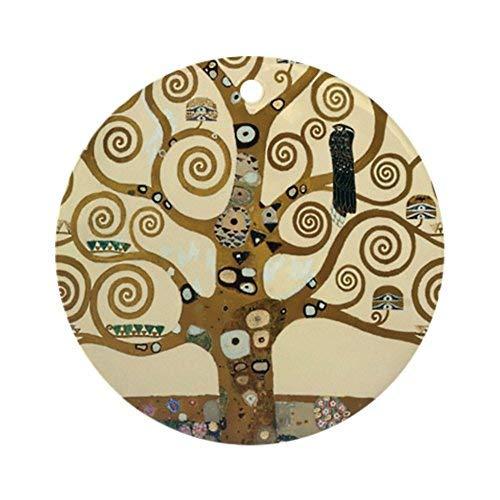 hiusan Novelty Decoration Gustav Klimt Tree of Life Christmas Ornaments Ceramic Round Christmas Tree Hanging Keepsake 3 -