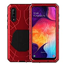 Feitenn Galaxy A50 Case, Samsung A50 Case Heavy Duty, Armor Aluminum Alloy Metal Cover Rubber Bumper Military Shockproof Hard Defender Shell Men Gift for Samsung Galaxy A50 - Red