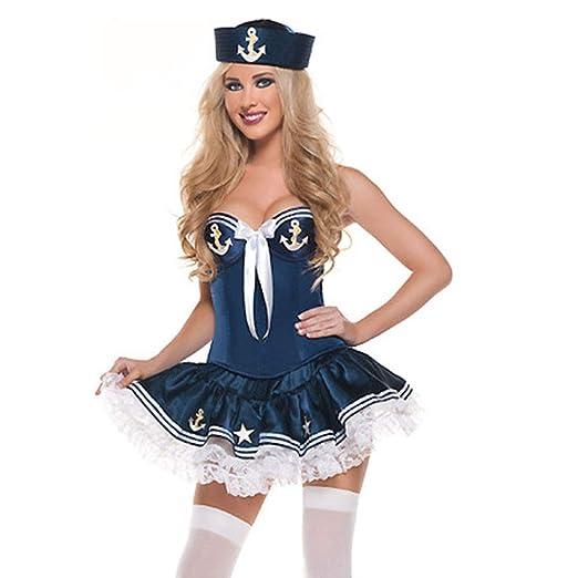 YCWY Disfraz de Marinero Azul Marino para Mujer, Disfraz de ...